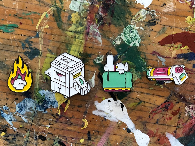 Riso Pins why are you reading this screenprint squeegee flames fire risoprint drum snoopy enamel pins risograph