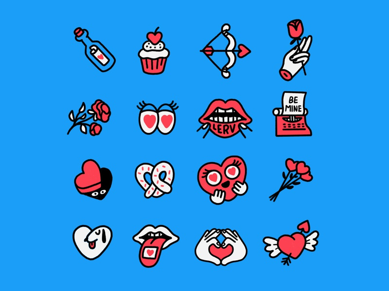 Unused Valentine's Day Stickers stories stickers camera stickers messenger