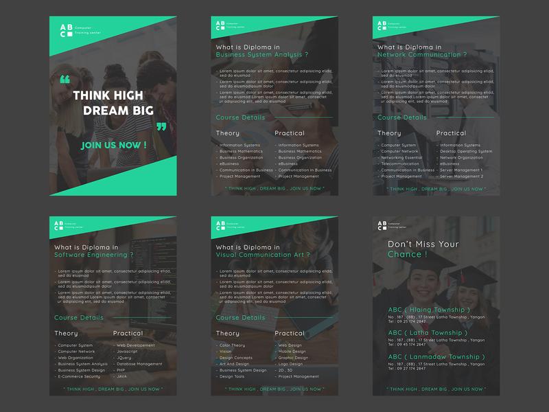 Simple Pamphlet Design for Training School ideas pamphlet illustrator photoshop flat  design design ui