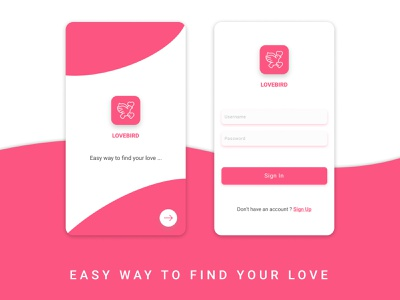 Love Bird Login UI sign up singin login app mobile ui flat  design ux design ui
