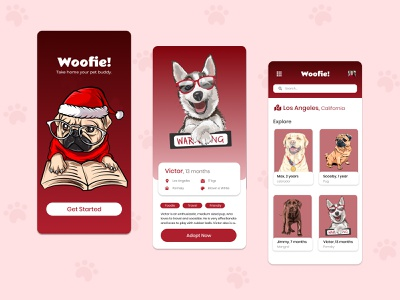 Dog Adoption App ui design uiux mobile ui vector illustration app mobile gradient ui uidesign ux