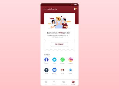 Invite Friends Page code sharing share referral invitecode invitefriends userinterface userexperience branding illustration mobile app ux uidesign uiux design