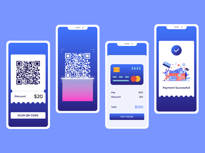 Discount Scanner and Payment App gradient purple userexperience userinterface discount scanning scan illustration mobile app ux uidesign ui uiux design