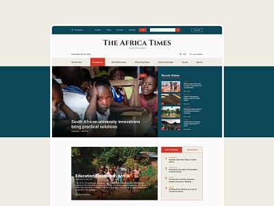 The Africa Times | Online News Portal Web Template ui website design live online news africa news newsletter landing page ui web design ui  ux figma ui design portal design news app newsfeed design newspaper