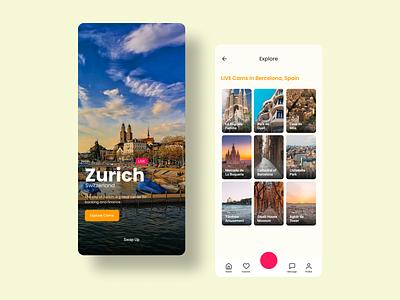 Travel LIVE Cam 📷 🤳 branding flat daily ui ui app design flat design figma livestream camera app app ui kit clean ui travel app ui  ux mobile app design