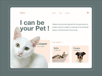 Petus - Pet Adaptation Website Freebies freebie flat design landing page ui ui design ui  ux adobe photoshop bootstrap 4 adaptation pet web design