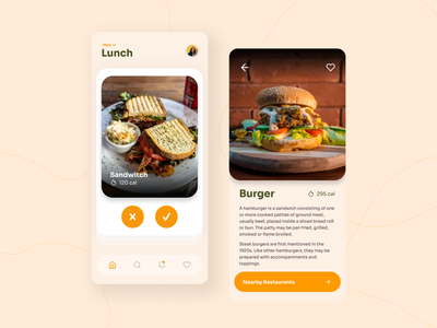 Fooder Mobile App 🍔 nutrition app nutrition calories flat daily ui ui  ux figma tinder app design food and drink restaurant food app