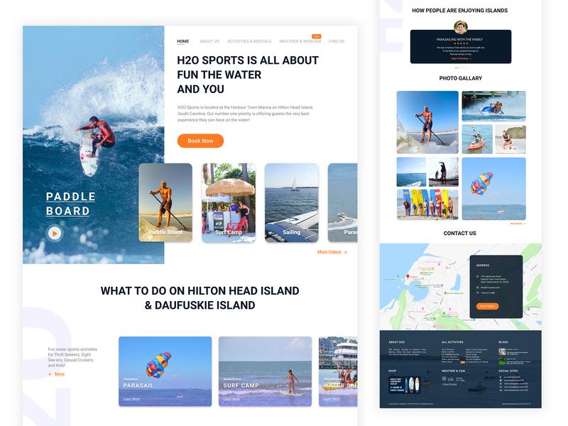 H2O Sports design branding ui  ux landing page ui daily ui web design flat