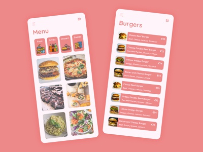 Food/Drink Menu foodie fast food take away menu food and drink drink food app ux ui design dailyuichallenge dailyui