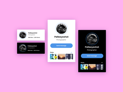 social profile card uipattern uxdesign card design card componet card ux ui visual design