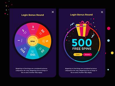 Spin bingo game game tickets bingo colors visual design