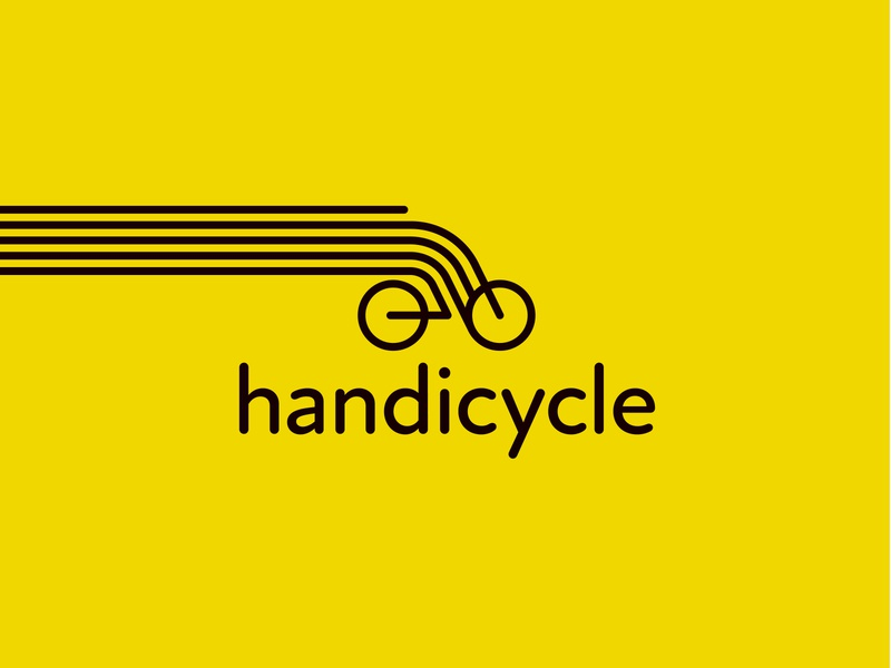 Handicycle Logo dailylogo dribbble logogram branding simple logo minimalist logo creative logo startup black monoline logo monoline yellow bicycle logo bicycle shop bicycle app bicycle hand logo