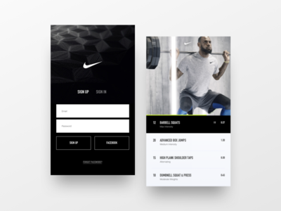 Nike Fitness UI Exploration app iphone design fitness sports nike training sign in sign up ui
