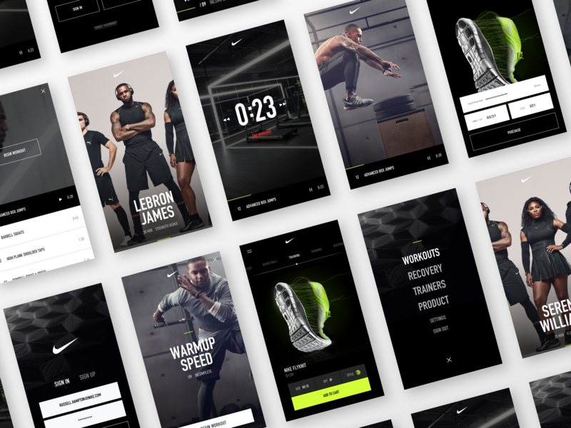 Nike Fitness App sign up sign in black shoes mobile ui design sports app fitness app workout app workout app fitness nike