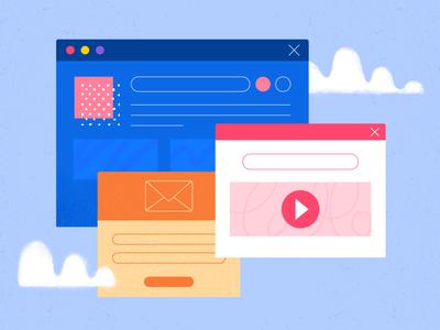Mail & Ad Popup Design Illustration