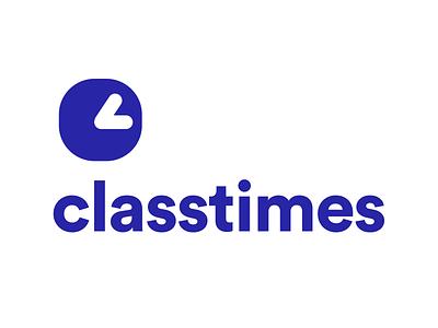 Classtimes Logo education college class darkblue branding schedule time university school app icon blue and white blue logo