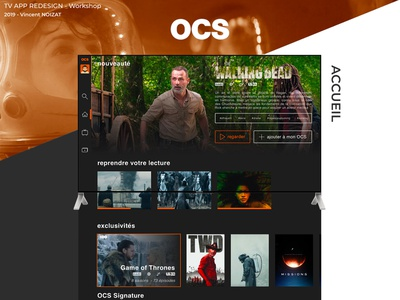 Redesign - OCS TV APP vod orange redesign tv app streaming app streaming netflix ux ui design