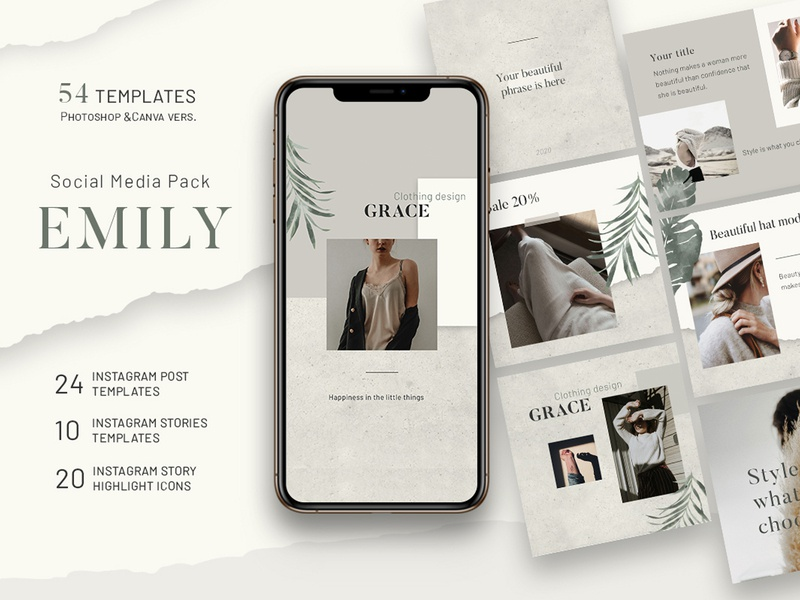 Emily - Instagram Templates creative post-design social media post-instagram instagram template instagram graphic design template design
