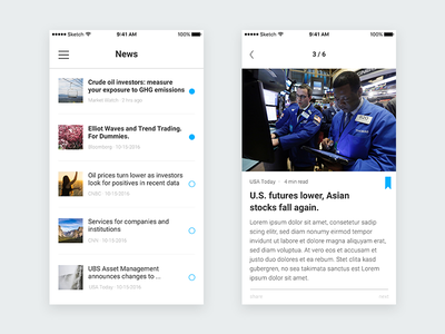 UBS – App Redesign (News) news ui iphone app ios