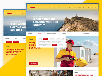 DHL Global Relaunch (Filter) filter website dhl blog news grid ui