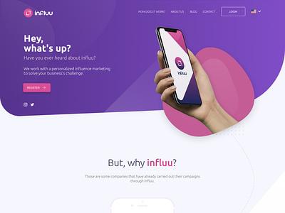 Influu.me - Redesign purple website web ux ui ui design site design site minimal figma design