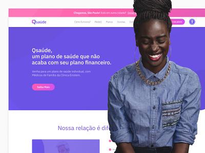 Qsaúde uidesign ui website web design plano de saúde plano pink purple health saúde ux site site design ui design figma
