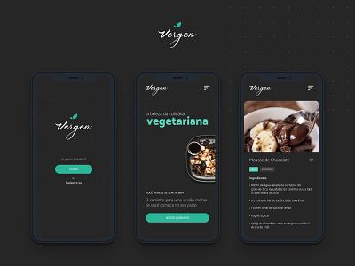Vergen App food vegetarian app design food app black green ui minimal figma website ui design site design ux design