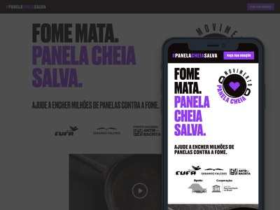 Movimento Panela Cheia donation food ong website app design black minimal figma ui design ux site site design design