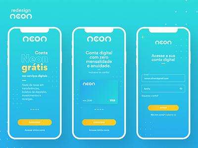 Neon App - Redesign ux app blue app neon bank ui design figma ux site design ui