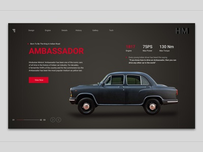 Landing page of retro car