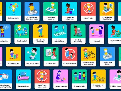 Kid Behavior Cards training education life routine manners household action family habbit gesture behavior children kid illustration