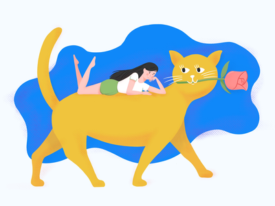 A Girl on Cat girl cat illustration