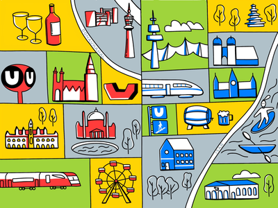 Vienna to Munich ubahn illustration vienna munich city