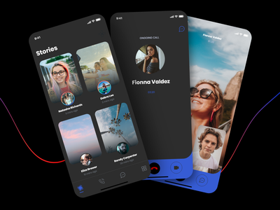 Social App (dark mode) free kit template freebie free video audio chat text call media social dark
