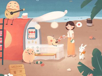 薯片酒屋奇妙探访之旅 rabbit beach winehouse sea summer flower cute girl illustration