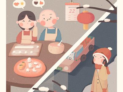 冬至 home rabbit family winter cold cute girl illustration