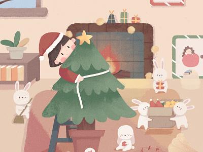 Christmas Eve christmas party christmas tree rabbit home cute girl illustration