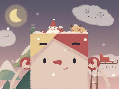 Merry christmas car snow sledge elk santa claus christmas cute girl illustration