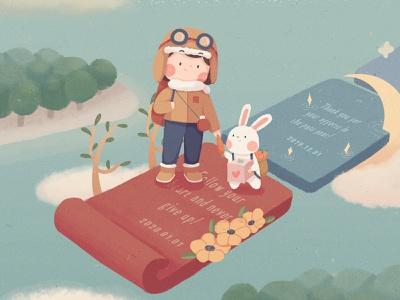 New Year's Day cloud friendship quiet flower tree hope mountain sky sea 2020 rabbit girl cute illustration new year
