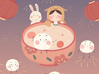 The Lantern Festival cute girl illustration