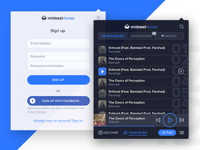 Chrome Extension music playlist form login sign up extension player