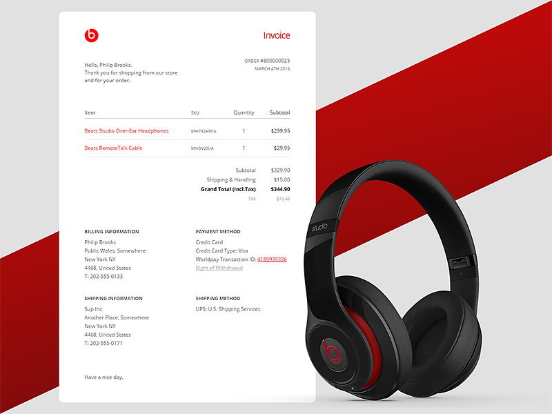 Email Receipt - DailyUI #017 freebie codepen invoice beats drdre receipt newsletter responsive dailyui email