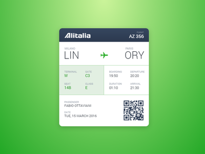 Boarding Pass - DailyUI #024 flight passenger terminal gate alitalia codepen dailyui airplane boarding pass
