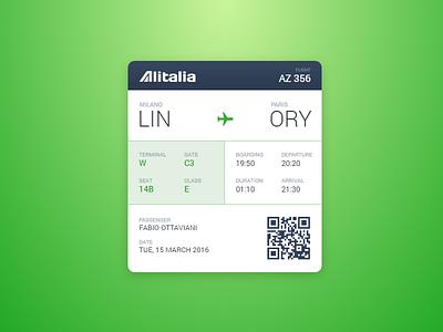 Boarding Pass - DailyUI #024 flight passenger terminal gate alitalia codepen dailyui airplane boarding pass