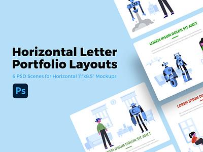 Horizontal Letter Portfolio Layout PSDs layout thumbnail thumb portfolio design branding ui