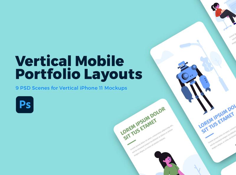 Vertical Mobile Portfolio Layout PSDs mobile app design mockup psd mockup template mockup design