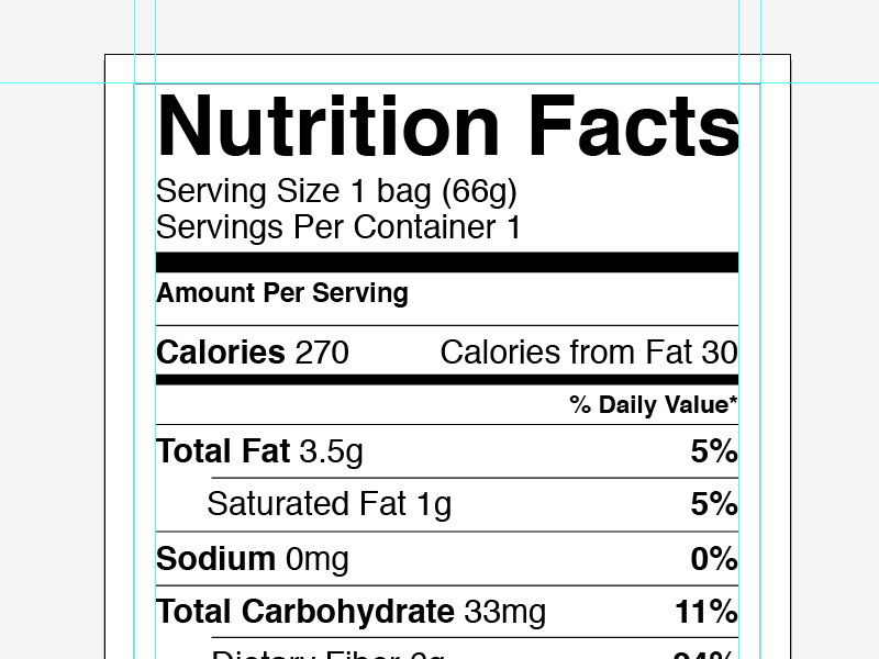 Vector Nutrition Facts Label By Greg Shuster