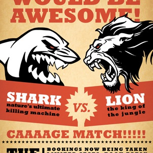Shark vs. Lion fight poster ficticious fight poster