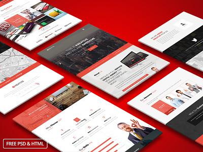 KreFolio-Startup Agency Landing Page Template. Freebie web design ui ux user interface user experience creative psd corporate freebie free html startup
