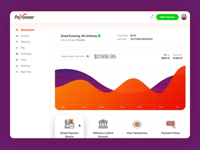 Payoneer Dashboard Redesign